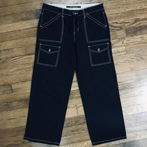 DKNY Black Wide Cropped Cargo Jean White Stitching